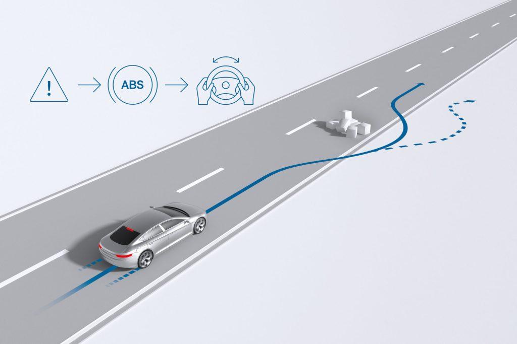 Dank Antiblockiersystem bleibt das Fahrzeug auch bei einer Vollbremsung lenkbar und kann Hindernissen ausweichen.