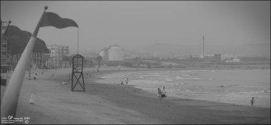Pareja en playa gris