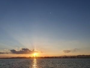 Apus de soare văzut de pe mare la Malaga