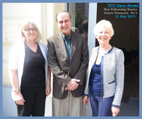 AFCU member Jeffry Olesen and AFCU fundraising committee member Ardith Meier (left) with VCC Moderator Mary Geissler.
