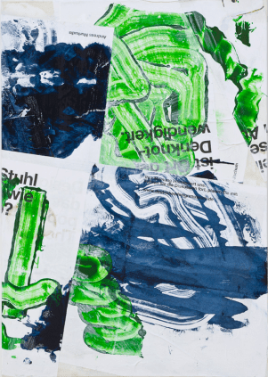 Jakub Czyszczon, Flag II , canvas, posters, oil paint, offset paint, 110x170 cm, 2011, Stereo Gallery, photocredit: courtesy of the artist