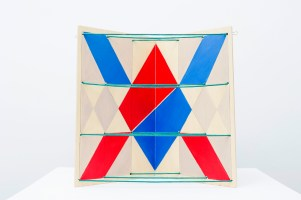 The Story of the Colorful Ribbons. Vol. 68., 1988, 2 plywood sheets, green ribbon, 40.5 x 28 cm.