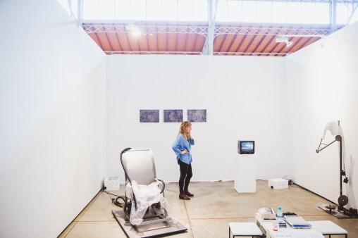 Artist Evelyn Loschy in her ZONE1 solo presentation, Galerie Michaela Stock, photo: viennacontemporary / A. Murashkin