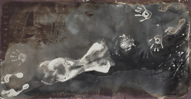 Ágnes Eperjesi, Somersault, 1988, b&w. photogram, 100 x 200 cm, courtesy of INDA Gallery