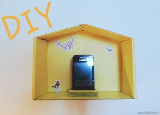 Upcycling, Glossybox, Dekotrend Haus, gelb,DIY, Ladestation, Handy, Smartphone, Haus, Häuschen, Deko