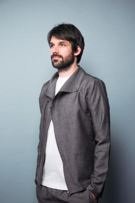 Jacke aus feinem Halbleinen mit asymmetrischer Zipp
