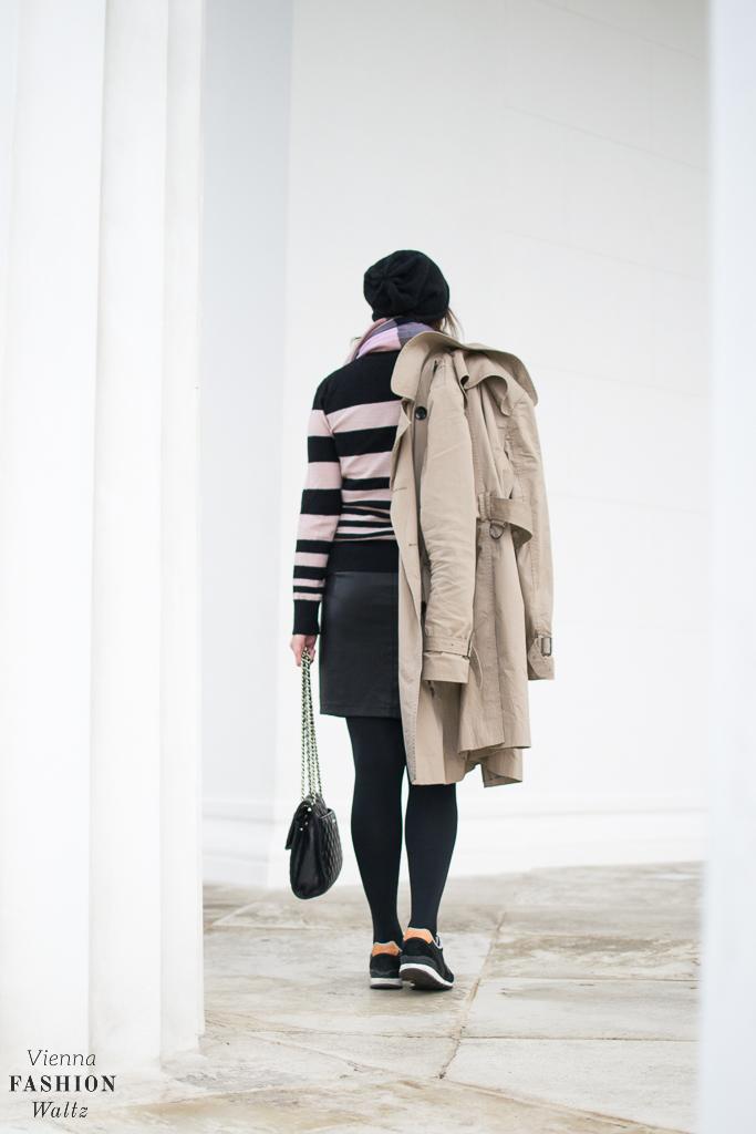 Fake Leather & Beige Stripes