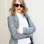 Glencheck Blazer Business Look Fashion- und Lifestyleblog www.viennafashionwaltz.com adidas neo label Deichmann Kette Cajoy Fake Gucci Gürtel H&M Outfit Streetstyle
