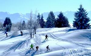Skieurs La Féclaz savoie