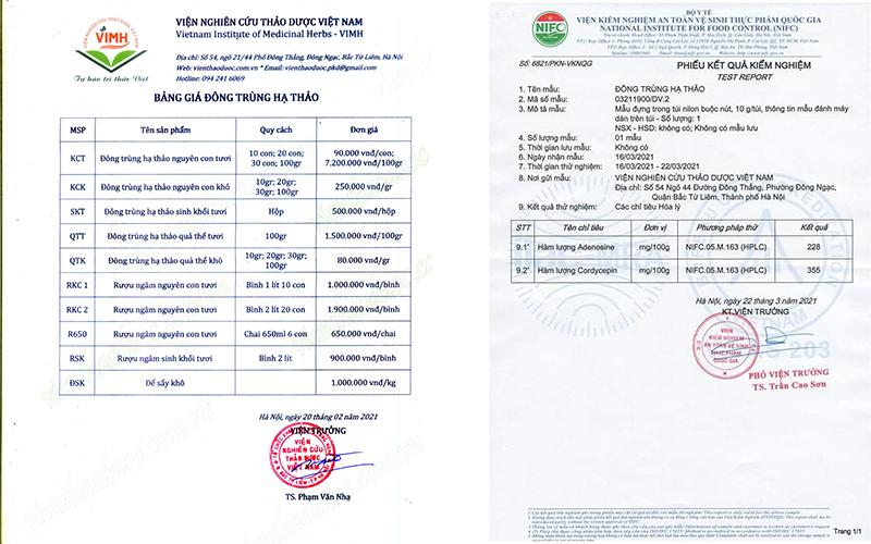 Bảng giá Đông trùng Hạ thảo - Viện Nghiên cứu thảo dược Việt Nam