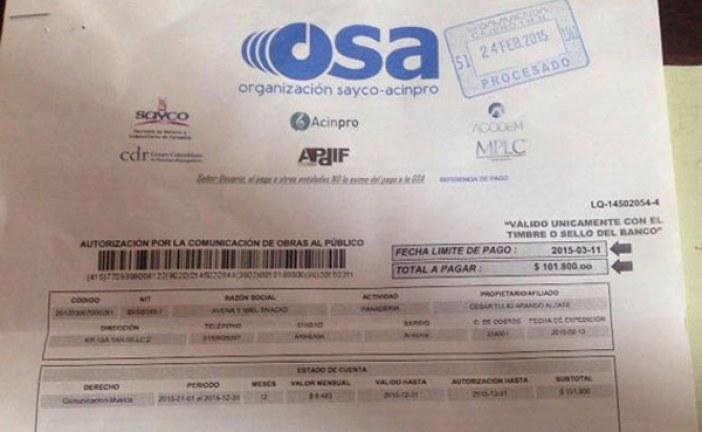 Tenderos tendrían que pagar entre 200 y 300 mil pesos anuales a Sayco-Acinpro