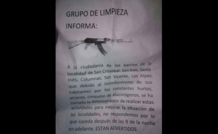 Panfletos a amenazantes en la localidad de San Cristóbal, habla el alcalde local