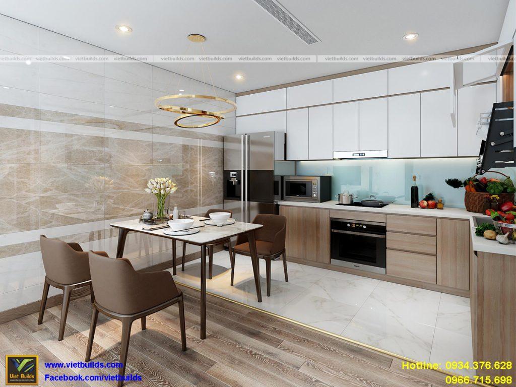 phòng bếp tiện nghi trong thiết kế nội thất biệt thự đẹp