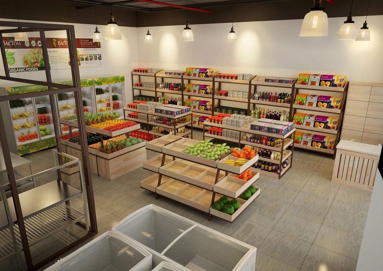 thiết kế nội thất cửa hàng thực phẩm