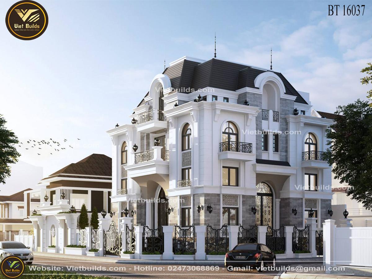 mẫu biệt thự 3 tầng kiểu Pháp đẹp BT16037