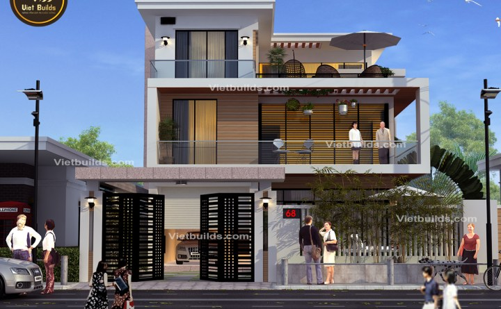 Mẫu thiết kế biệt thự 3 tầng hiện đại ở Bắc Ninh BT16061
