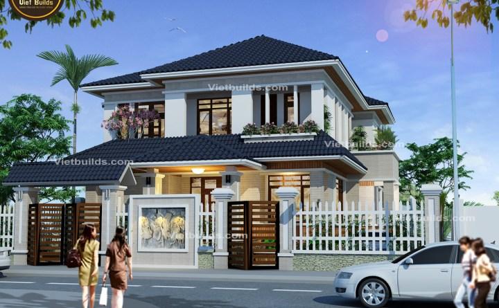 mẫu thiết kế nhà mái thái 2 tầng đẹp BT16042