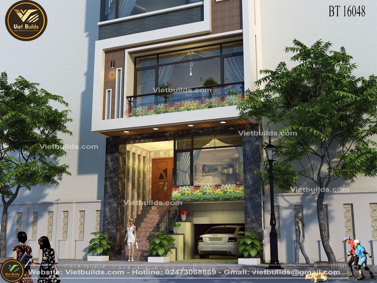 mẫu thiết kế nhà ở kết hợp văn phòng cho thuê BT16048