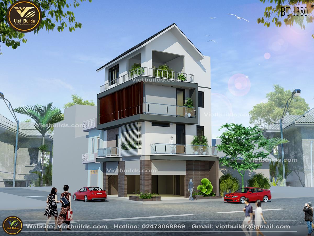 mẫu thiết kế nhà phố 2 mặt tiền Hiện Đại BT1380