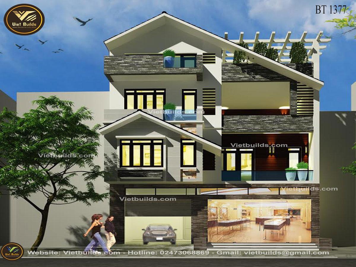 Mẫu thiết kế nhà phố 3 tầng hiện đại BT1377