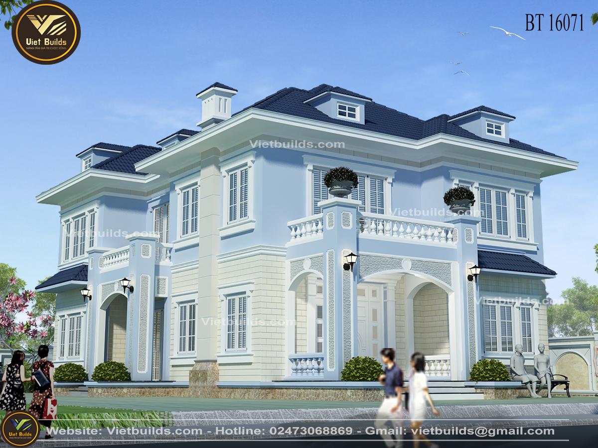 Mẫu biệt thự 2 tầng đẹp tân cổ điển tại Phú Thọ BT16071