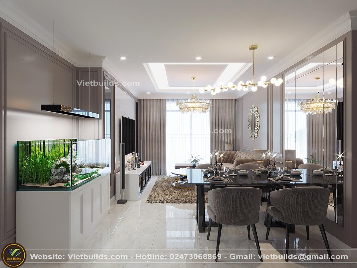 Mẫu thiết kế nội thất nhà chung cư PHONG CÁCH Tân Cổ Điển