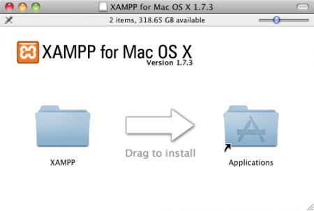 Cài đặt XAMPP băng cách kéo thả vào thư mục Applications