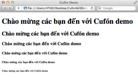 Trang HTML bình thường chưa tích hợp Cufón