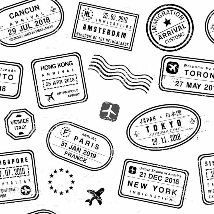Collage of passport stamps