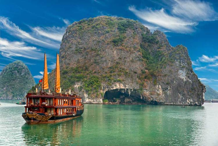Ship in front of Halong Bay in Vietnam