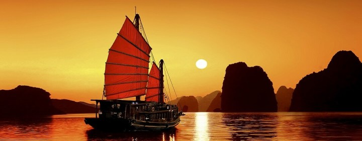 Zonsondergang - Halong Bay, Vietnam