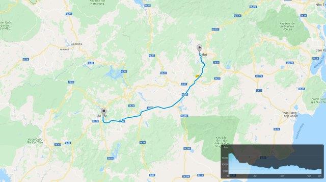 Dalat to Bao Loc bike route map