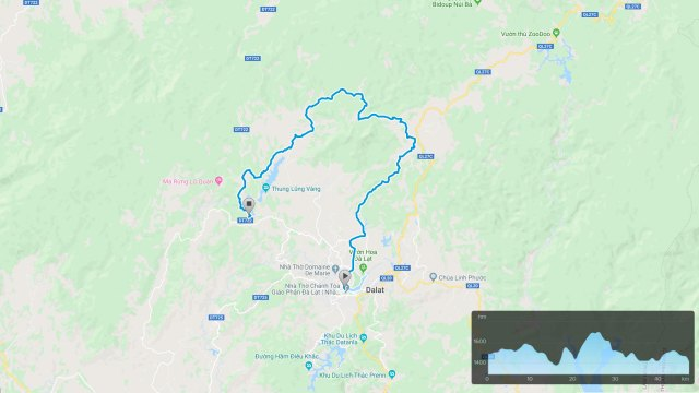 Da Lat Golden Valley cycling route map