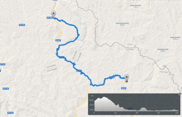 cycling map: meo vac bao lac