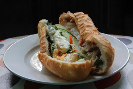 Banh Mi Op La or Vietnamese Egg Sandwich