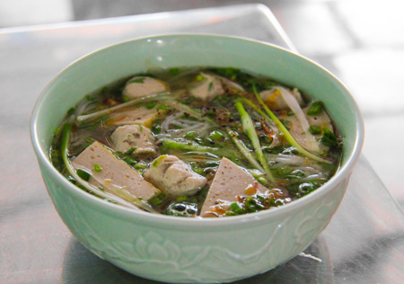 Bun Moc or Pork and Mushroom Meatball Soup