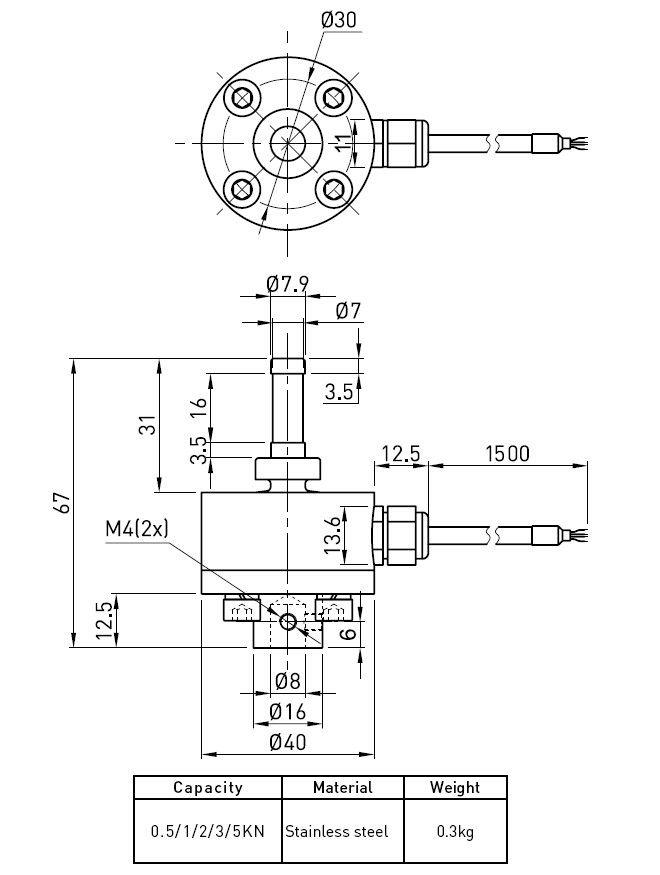 Compression Type Bồn Cân Load Cell, thép không gỉ tải cảm