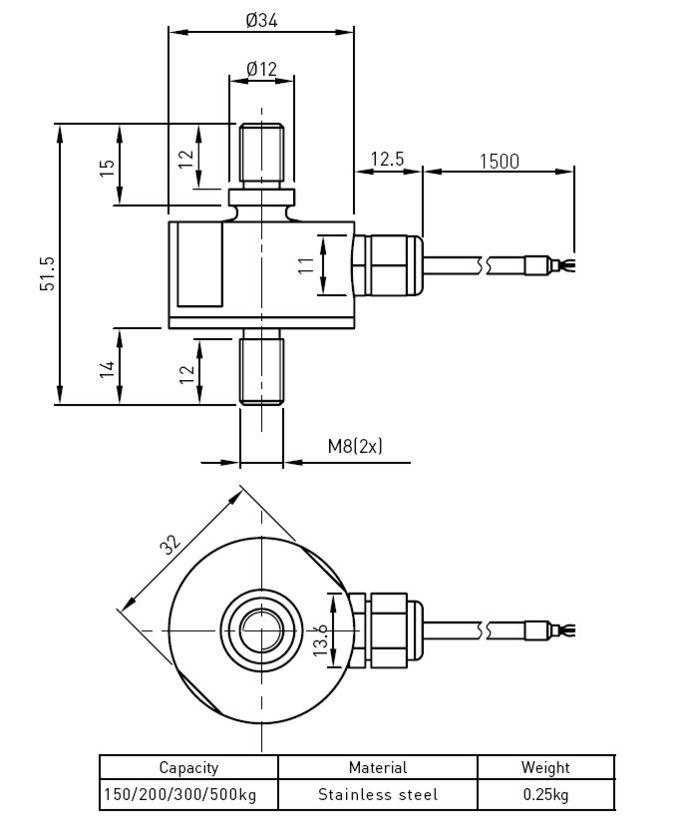 Thép không gỉ Rod End Load Cell Với trọng lượng chỉ số Ví