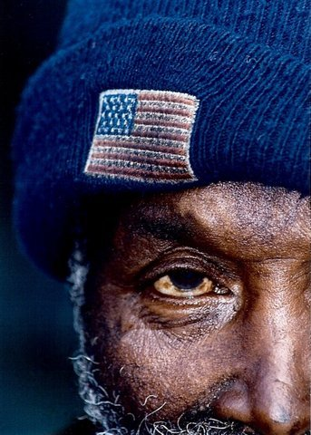 homeless vet closeup
