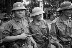 North Vietnamese soldiers set up camp in a city park in Saigon after the Americans pulled out. Claudia Krich/Courtesy photo