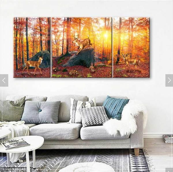 Đàn hươu trong rừng lúc bình minh treo phòng khách