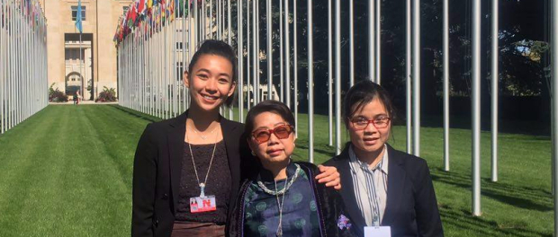 VOICE delegation at the UN office in Geneva. From left to right- Anna Nguyen, Le Thi Minh Ha, and Dinh Thao. Vietnam UPR
