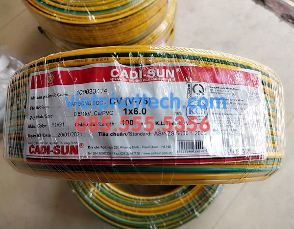 Dây tiếp địa vàng xanh M6, dây điện 1x6mm2