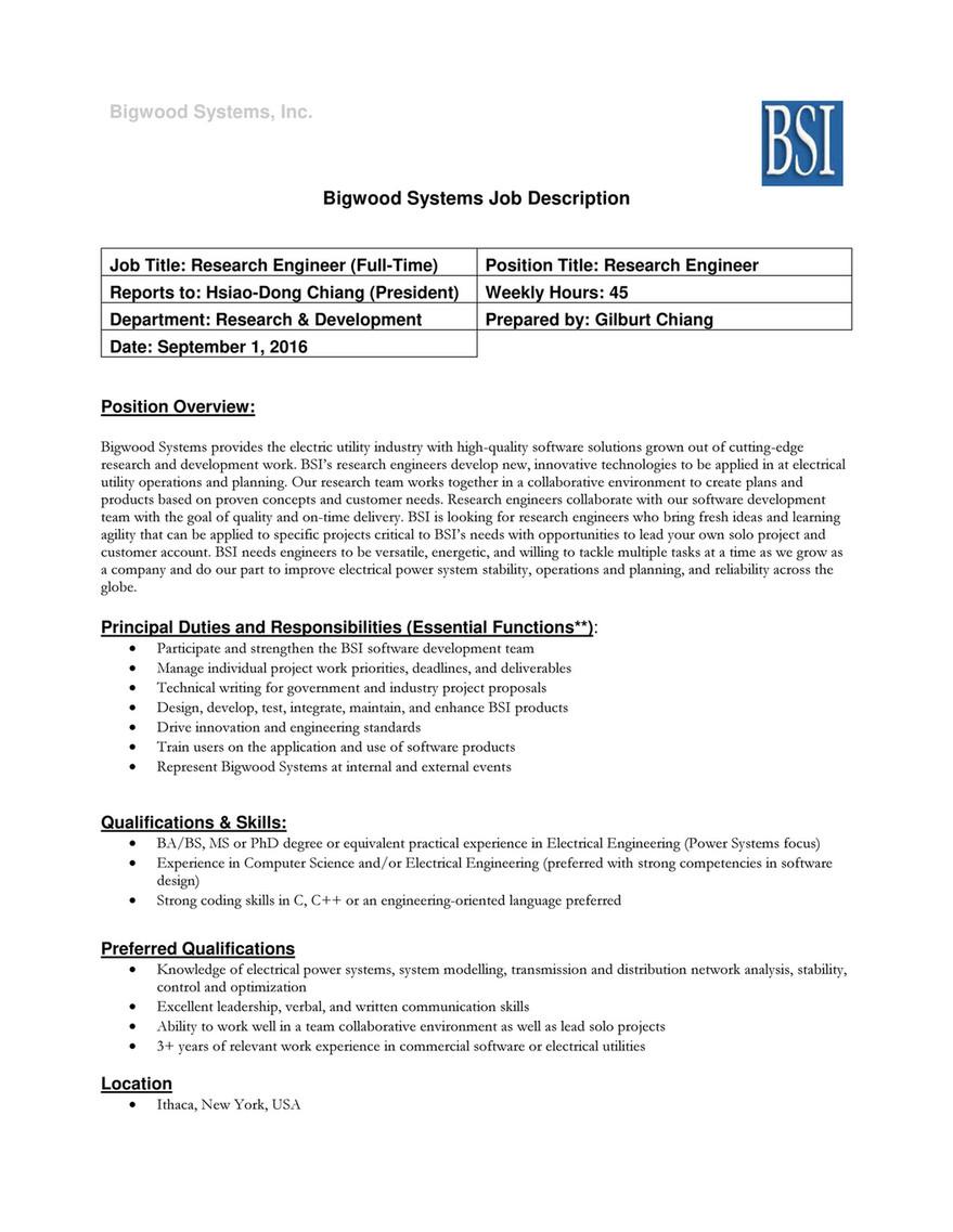 Bigwood Systems, Inc. Bigwood Systems Job Description Job Title: Research  Engineer (Full