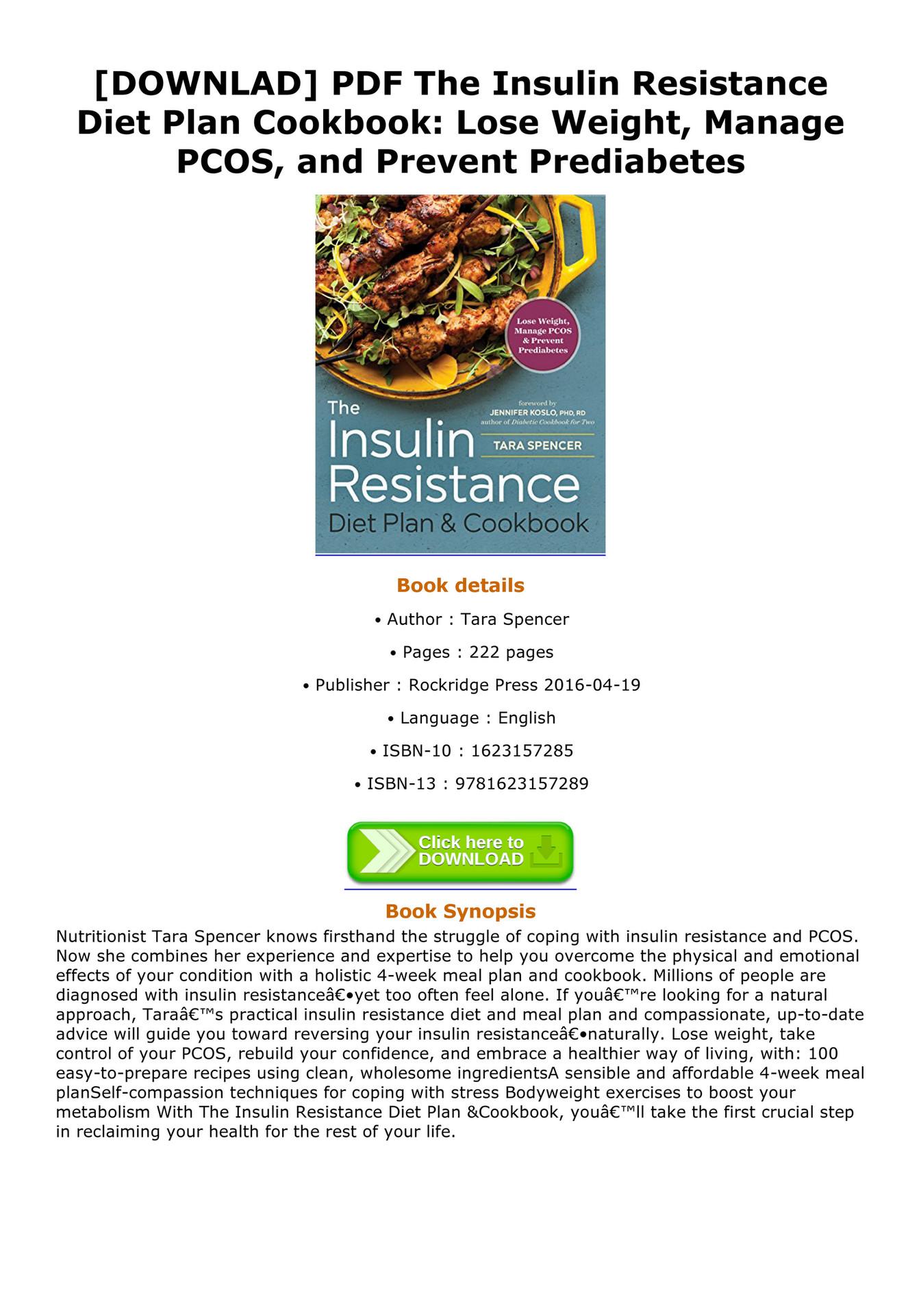 Glover BOOK DOWNLAD PDF The Insulin Resistance Diet Plan Cookbook