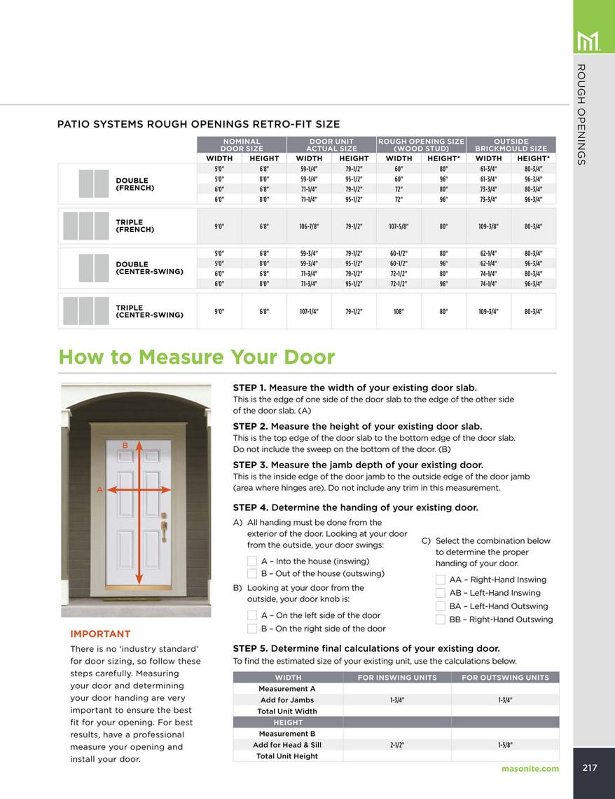 2 6 Door Rough Opening : rough, opening, Exterior, Doors, Catalog, Front, Masonite, 218-219
