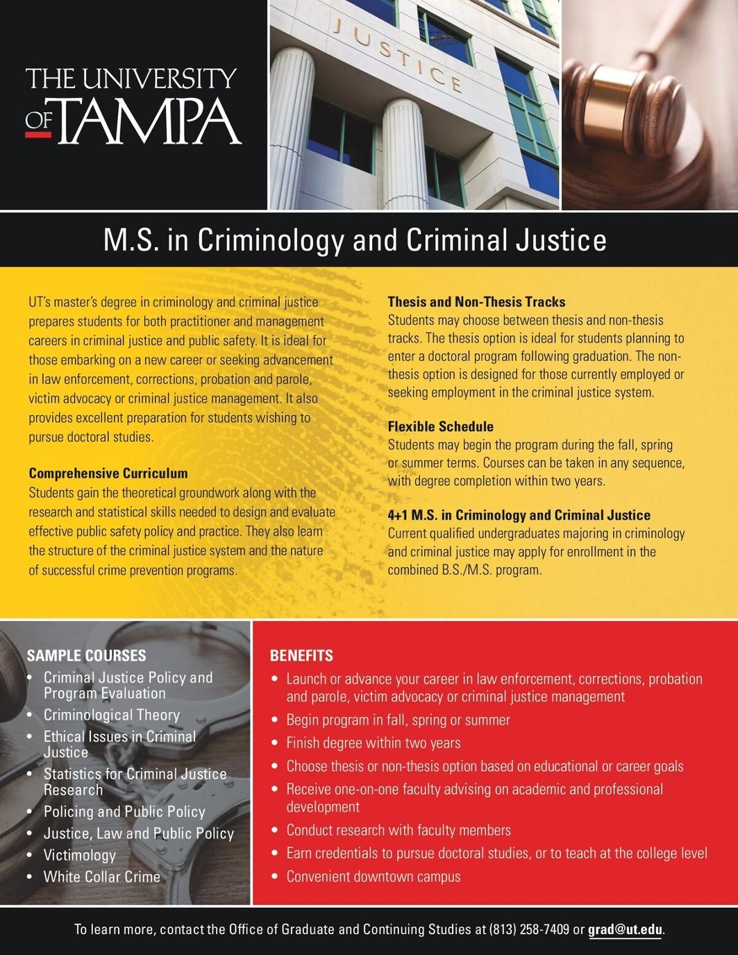 Flyer M S Criminology CriminalJustice Brochure Correctional