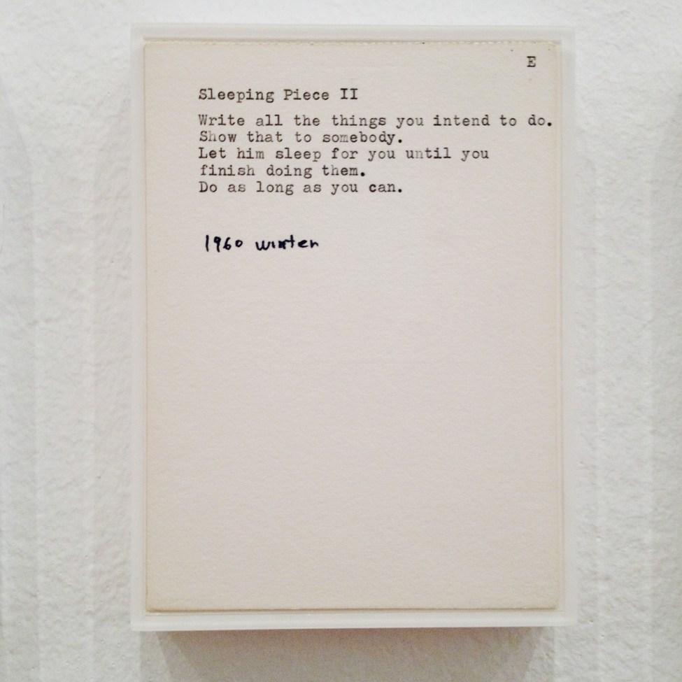 Sleeping Piece II by Yoko Ono
