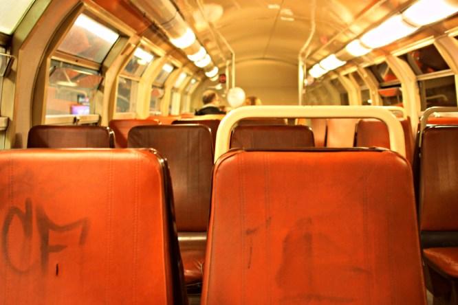 Paris: The atmosphere inside a run-down subway car.