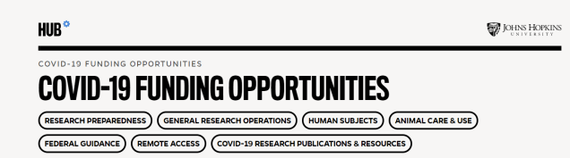 COVID19 Funding Opportunities
